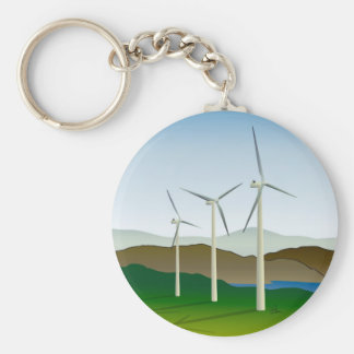 Wind Turbine by Lake Key Ring