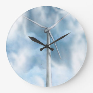 Wind Turbine: Energy, Power: Green: Artwork Wall Clock