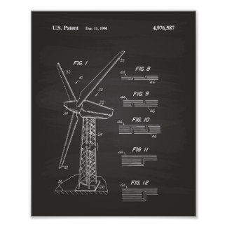 Wind Turbine Rotor 1990 Patent Art Chalkboard Poster