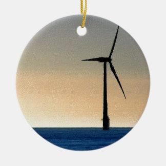 Wind Turbine Round Ceramic Decoration