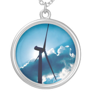 Wind turbine silver plated necklace