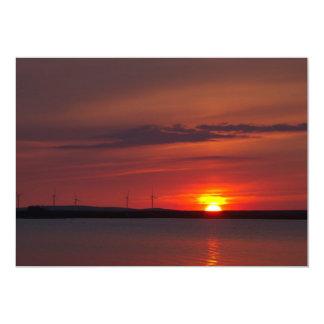 Wind turbines at sunset card