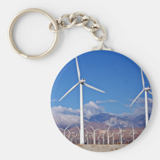 Wind turbines basic round button key ring