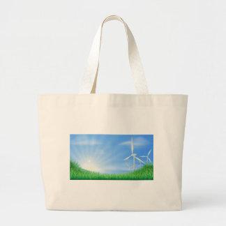 Wind turbines landscape illustration bag