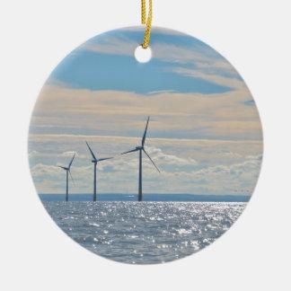 Wind Turbines Round Ceramic Decoration