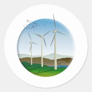 Wind Turbines Round Sticker