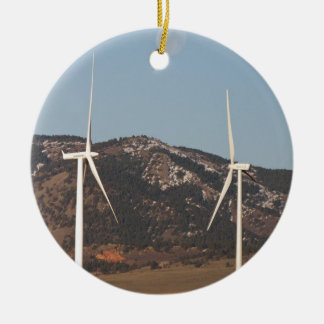 Wind Turbines With A Full Moon Portrait Round Ceramic Decoration