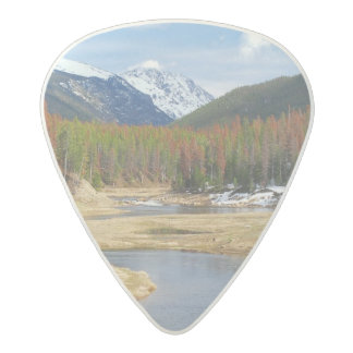 Winding Colorado River With Mountains and Pines Acetal Guitar Pick