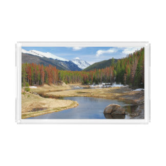 Winding Colorado River With Mountains and Pines Acrylic Tray