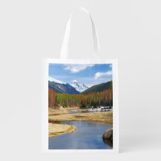 Winding Colorado River With Mountains and Pines Reusable Grocery Bag