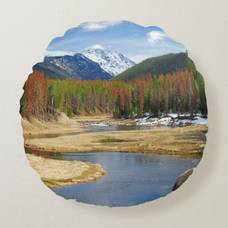 Winding Colorado River With Mountains and Pines Round Cushion