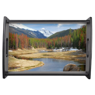 Winding Colorado River With Mountains and Pines Serving Tray
