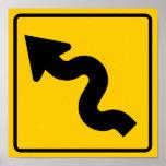 Winding Road Ahead Highway Sign Print