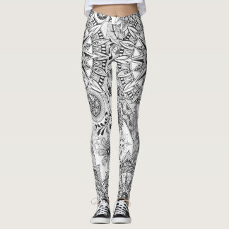 Winding Road Black and White Leggings
