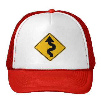 Winding Road, Traffic Warning Sign, USA Trucker Hat