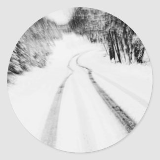 Winding Wintry Road Round Stickers