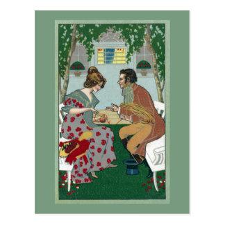 Winding Yarn With a Helper Vintage Art Nouveau Postcard