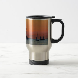 Windjammer and sunset on the Baltic Sea Stainless Steel Travel Mug