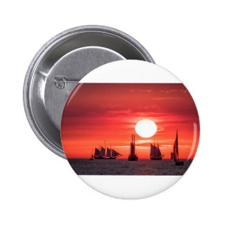 Windjammer in sunset light on the Baltic Sea 6 Cm Round Badge
