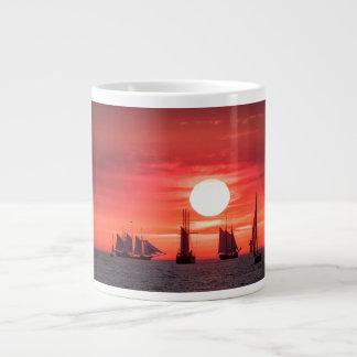 Windjammer in sunset light on the Baltic Sea Jumbo Mug