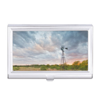 Windmill And Clouds At Sunset Business Card Holder