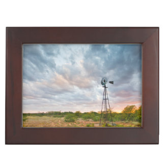 Windmill And Clouds At Sunset Keepsake Box