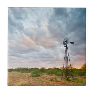 Windmill And Clouds At Sunset Tile