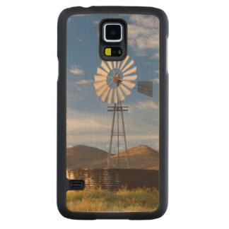 Windmill And Dam In The Karoo At Sunrise Carved Maple Galaxy S5 Case