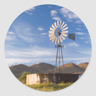 Windmill And Dam In The Karoo At Sunrise Classic Round Sticker