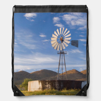 Windmill And Dam In The Karoo At Sunrise Drawstring Bag