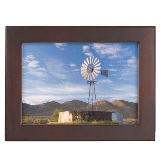 Windmill And Dam In The Karoo At Sunrise Keepsake Box