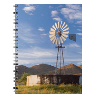 Windmill And Dam In The Karoo At Sunrise Spiral Notebook