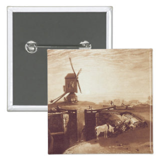 Windmill and Lock, engraved by William Say (1768-1 15 Cm Square Badge