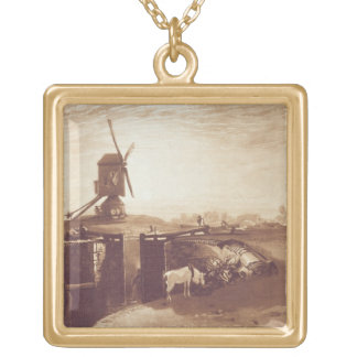 Windmill and Lock, engraved by William Say (1768-1 Gold Plated Necklace