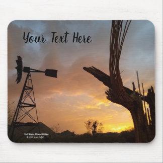 Windmill and Saguaro Cactus Skeleton at Sunset Mouse Mat