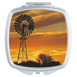 Windmill and Sunset, William Creek, Oodnadatta Makeup Mirror