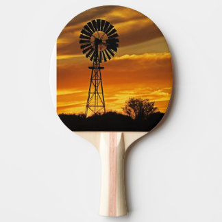 Windmill and Sunset, William Creek, Oodnadatta Ping Pong Paddle