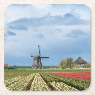Windmill and tulips landscape coaster square paper coaster