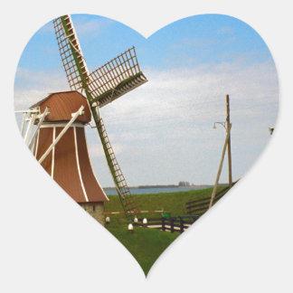 Windmill at Enkhousen Heart Sticker