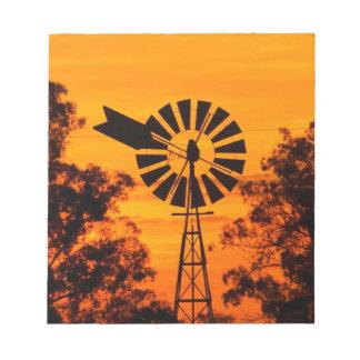 Windmill at Sunset, Australia Notepad