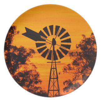 Windmill at Sunset, Australia Plate