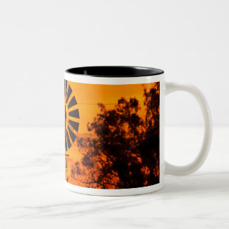 Windmill at Sunset, Australia Two-Tone Coffee Mug