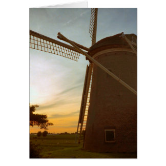Windmill at sunset card