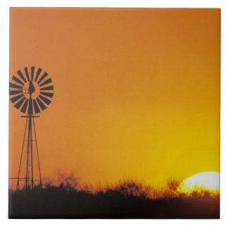 Windmill at sunset, Sinton, Texas, USA Tile