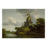 Windmill by a River Poster