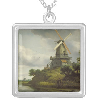 Windmill by a River Silver Plated Necklace