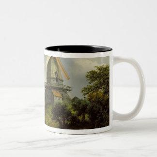 Windmill by a River Two-Tone Coffee Mug