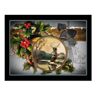 Windmill Christmas Greetings Postcard
