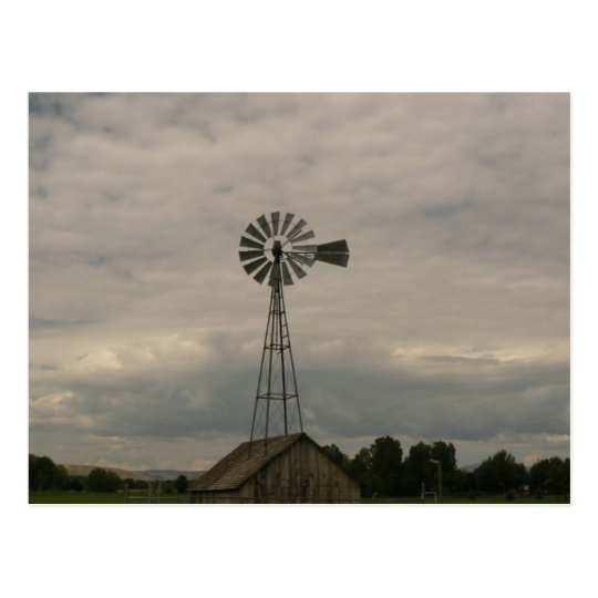 Windmill & Cloudy Sky Postcard