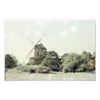 Windmill, Dutch Inspired Tinted Trees Scenery Photographic Print